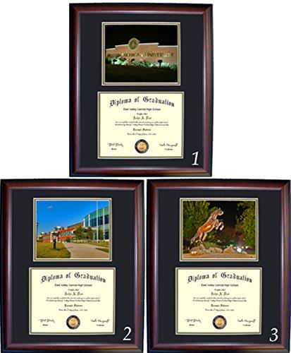 Western Michigan University Wood - Western Michigan Diploma Frame - Photo Option #1 - Walnut Frame