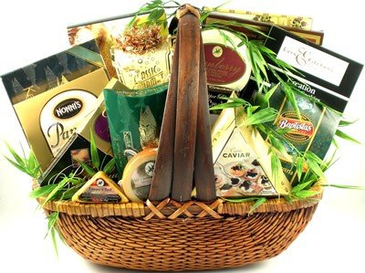 The Finer Things In Life, Large Gourmet Gift Basket Loaded with Cheeses, Crackers, Nuts, Caviar, Smoked Salmon And A Lot Of Sweets