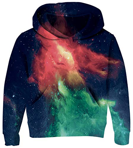 (UNICOMIDEA Teen Hoodies Boy's Pullover Sweatshirt Funny Outwear Aurora Printed with Hoody Sweatshirt Front Pouch Pocket S)