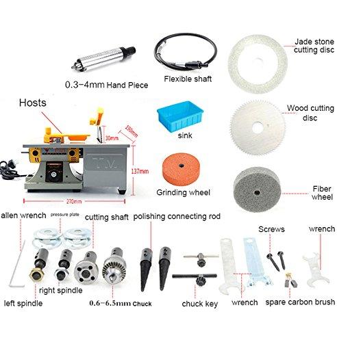 220V 350W TM-3 Gem Jewelry Rock Polishing Buffer Bench Lathe & Polisher Machine Set (Cutting Speed Lathe)