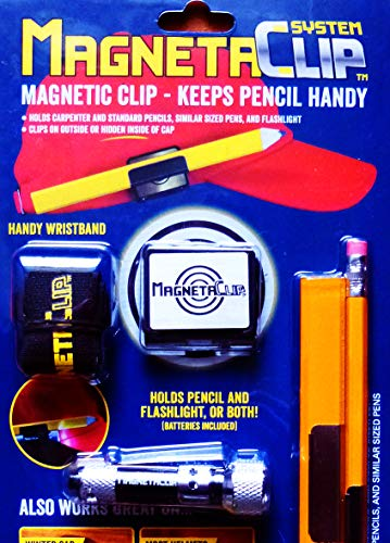 MagnetaClip System - STRONG MAGNETIC Pencil and Flashlight Holder for baseball cap, winter hat, helmet, belts and more! Handy wristband included!