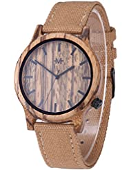 Marino Mens Canvas Wooden Watch - Wrist watches for Men - Dress Wood Watch - Tan - Canvas Band