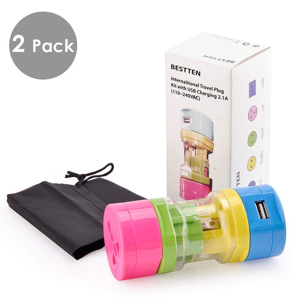 [2 Pack] BESTTEN Mini Travel Adapter Set with 2.1A USB Charging Port, Portable 5-Piece Pack, Rainbow Color