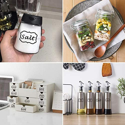 scuola di casa confezione regalo flaconi di vetro multiuso su barattoli di vetro Adesivi etichette adesive trasparenti Adesivi impermeabili 138 ideale per organizzare la dispensa della cucina