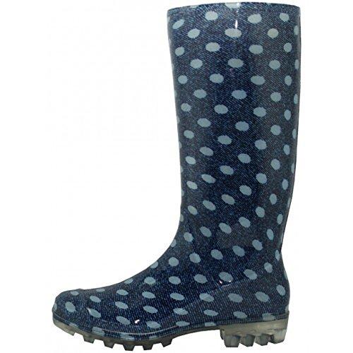 Eenvoudige Usa Dames Mooie Regenlaarzen 13 1/2 Inch Blauwe Polka Dot
