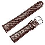 Lizard Grain Watchband Brown 16mm Short Watch band - by deBeer