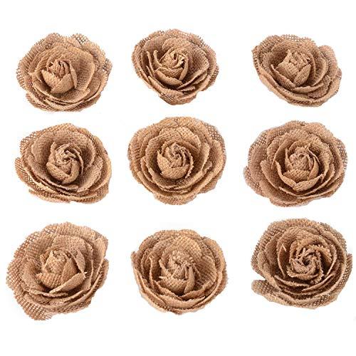 Advantez 9-Pack 3 Hessian Jute Burlap Rose Flowers for Christmas Wedding Party Decoration Hair Accessories Scrapbooking