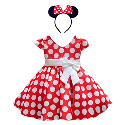 DreamHigh Girls Toddlers Polka Dot Skirt Cap Sleeves Flowers Girl Vintage Bow Dress with Headband Red 4T