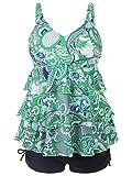Tomlyws Women 2 Piece Paisley Printed Tank Top with Boyshorts Bottoms Tankini Set Swimsuit Swimwear Green XXXL