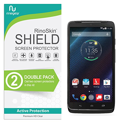 Motorola Droid Turbo Screen Protector [2-Pack] RinoGear Flexible HD Crystal Clear Anti-Bubble Unlimited Replacement Film