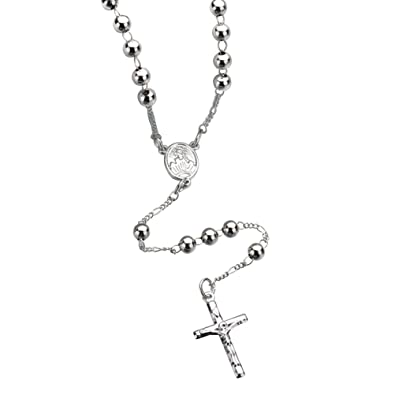 Buy OULII Catholic Jewelry Rosaries Metal Beaded Necklace with