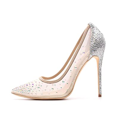 Miluoro Rhinestone Pointed Toe Silver High Heels Women Pumps Transparent Party Wedding Shoes   Pumps