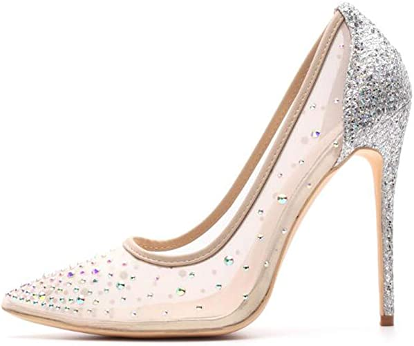 competitive price detailed images great prices Miluoro Rhinestone Pointed Toe Silver High Heels Women Pumps Transparent  Party Wedding Shoes