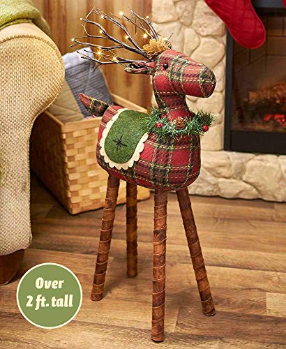 The Lakeside Collection Lighted Plaid Reindeer (Home Reindeer Decor)