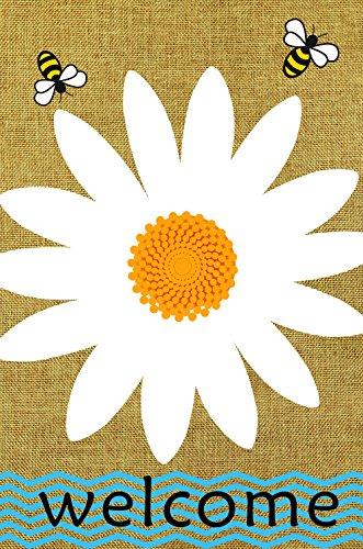 Morigins Welcome Spring Floral Bees Burlap Garden Flag 12.5