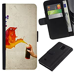 iKiki Tech / Cartera Funda Carcasa - Paint Spray Art Splash Orange Red Blue Wall - Samsung Galaxy Note 4 SM-N910