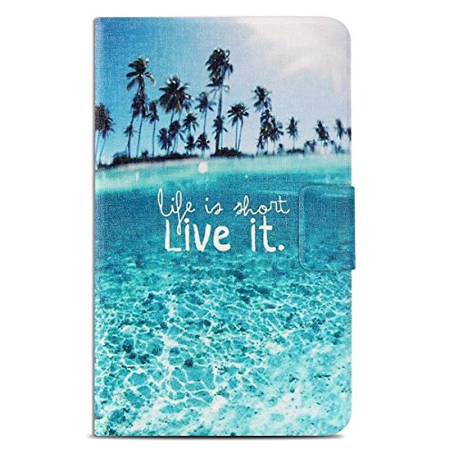 Kindle Fire 7 Case Kindle Fire 7 Cover Genuine PU Leather Flip Case Cover for Amazon KIndle Fire HD 7 2015 Table 360 Rotation Standing Anti Choc Protective Bumper with Life is That Live it Design by Caselover (Image #1)