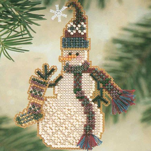 Stocking Snow Charmer Beaded Counted Cross Stitch Christmas Ornament Snowman Kit Mill Hill 2001 Snow Charmers ()