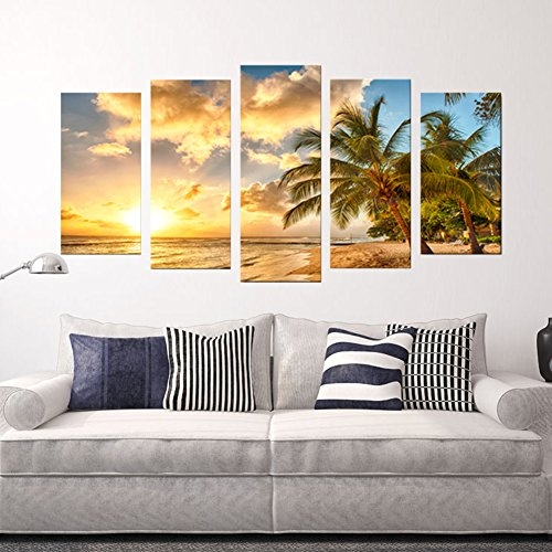 Hawaiian Painting - 5PCS Modern Unframed Hawaiian Ocean View Landscape Print Paintings Painting Canvas Wall Art Pictures for Home Decoration