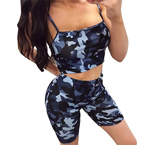 Camo Cami - Womens Sexy Two Piece Outfits Camo Crop Cami Top & Shorts Set Blue XXL