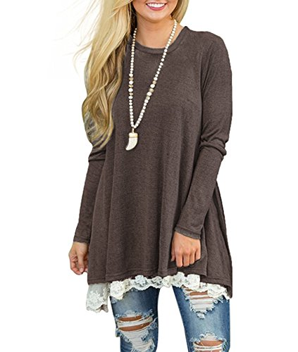 MOLERANI Women's Casual Lace Long Sleeve Tunic Top Blouse (XL, New Coffee) - Ladies Boot Tops