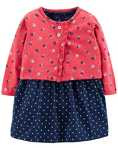 Carter's Baby Girls Bodysuit Dress & Cardigan Floral and Polka dots ()