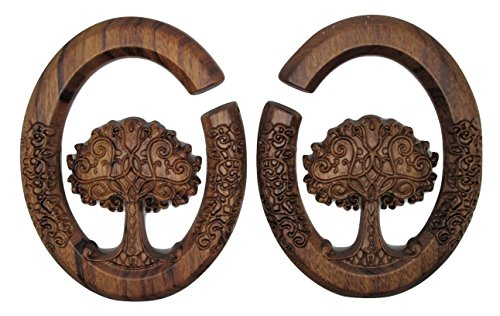 (Pierced Republic Tree of Life Wood Carved Dangle Ear Plugs - Ear Tapers - 2 Sizes, 0g or 00g - Pair (0 Gauge (8mm)))
