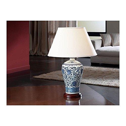Schuller Spain 660810I4L Traditional Blue Ceramic Table Lamp White 1 Light Living Room, bed room, Study, Bedroom LED, Ceramic Table Lamp with white shade | ideas4lighting by Schuller