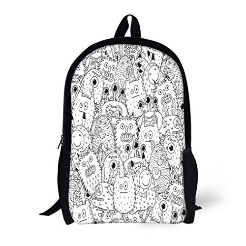 Pinbeam Backpack Travel Daypack Halloween Funny Monsters for Coloring Book Black Waterproof School Bag -