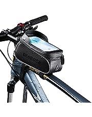Bolsa para Bicicleta, com Suporte para Telefone Celular, Acessórios para Bicicleta Bolsa com Alça Frontal de Bicicleta Impermeável e Reflexiva, com Tela de Toque TPU, com Quebra-sol e Capa de Chuva, Adequada para iPhone e Samsung e Outros Smartphones