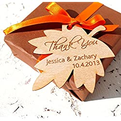 Wedding favor tags, personalized wedding favor tags, rustic leaf wedding gift tags, fall wedding favor tags, custom wood veneer shower tags - Set of 25 pieces