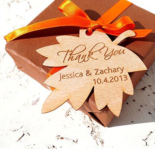 Wedding favor tags, personalized wedding favor tags, rustic leaf wedding gift tags, fall wedding favor tags, custom wood veneer shower tags - Set of 25 (Leaf Coaster Set Wedding Favors)