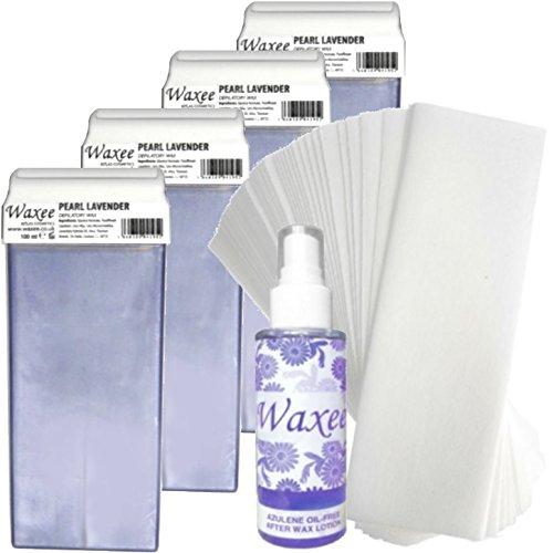 4 x Roll on roller wax cartridge + Strips+ After wax oil, waxing pack (Argan oil- TOP FORMULA) Waxee