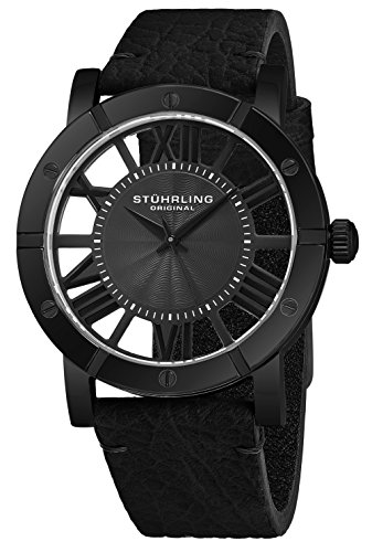 Style Leather Collection - Stuhrling Original Winchester Mens Black Watch With Black Strap - Analog Wrist Watch for Men - Black IP Stainless Steel Mens Designer Watch with Black Genuine Leather Strap 881 Mens Watches Collection