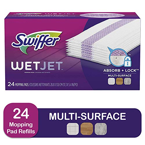 Swiffer Wetjet Hardwood Mop Pad Refills for Floor Mopping and Cleaning, All Purpose Multi Surface Floor Cleaning Product, 24 Count,swiffer