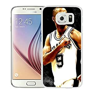 New Custom Design Cover Case For Samsung Galaxy S6 San Antonio Tony parker 3 White Phone Case wangjiang maoyi
