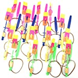 Amazing Arrow Rocket Helicopter with LED Light. Flying Toy with Elastic Powered Sling Shot (11.3, 16 pack)