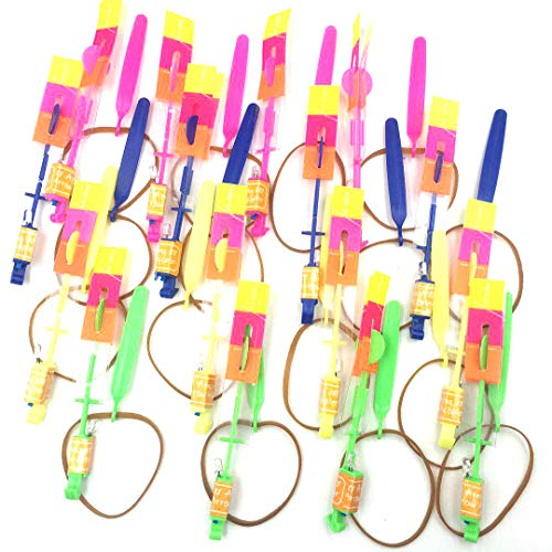 Amazing Arrow Rocket Helicopter with LED Light. Flying Toy with Elastic Powered Sling Shot (11.3, 16 pack) by Happy-House