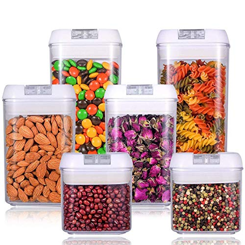 U-miss 6-Piece Airtight Food Storage Containers Set - Clear Containers with White Lids - Keeps Food Fresh & Dry