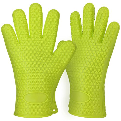 2018 Hot Sale BBQ Grilling Gloves Oven Mitts Gloves for Cooking Baking Barbecue Potholder (Green)
