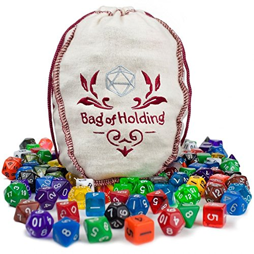 unique polyhedral dice, 140pc Bag Of Holding tabletop polyhedral dice assorted by By-Wiz Dice
