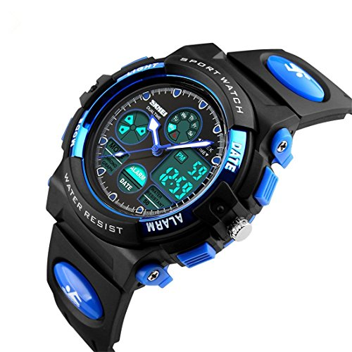 Kids-Sport-Outdoor-Digital-Unusual-Analog-Quartz-Dual-Time-Zone-Waterproof-PU-Resin-Band-Watch-with-Chronograph-Alarm-Classic-Design-Calendar-Date-Window-for-Boys-Girls-Children-Blue