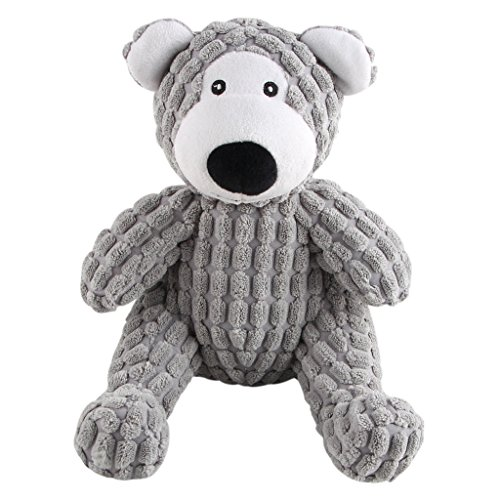 IFOYO Dog Squeaky Toy, Durable Dog Squeaker Toy 7.9 x 6.3 Inch Cute Sitting Bear Shaped Dog Interactive Toy Unique Tough Cloth Stuffed Dog Toy for Boredom -