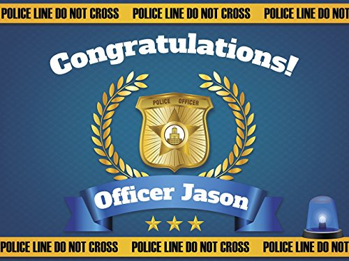 Graduation Banner, Congratulations Officer, Police Academy Banner, Police Party Ideas - Size 36x24, 48x24, 48x36; Personalized Congraduation Party Banner Handmade Party Supply Poster Print -