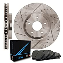 Rear Premium Slotted & Drilled Rotors and Carbon Pads Brake Kit TA169232 | Fits: 2005 05 Benz E320 4Matic w/Rear Vented Rotors