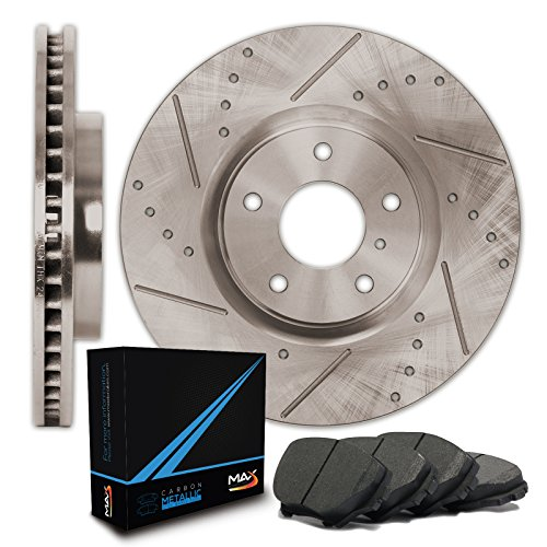 Max Brakes Premium Slotted+Drilled Rotors w/Metallic Pads Front Performance Brake Kit KT014931 [Fits 2005-2007 Chevy Cobalt SS | 2005-2012 Malibu | 2008-2010 HHR SS] (Chevy Malibu Brake Disc)