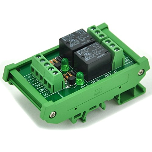 ELECTRONICS-SALON DIN Rail Mount 2 SPDT Power Relay Interface Module, 10A Relay, 12V Coil.