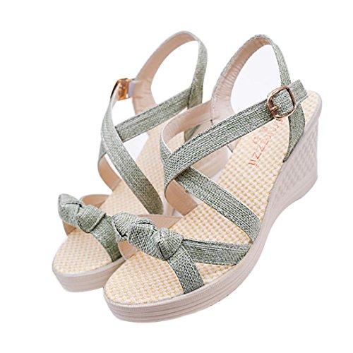 Elecenty Sandalen Damen,Keilabsatz 7cm Sommerschuhe Frauen Sommer Schuhe Peep Toe Wedges Platform Schuh Damenschuhe Shoes Sandaletten Dame Offene Elegante Freizeitschuhe Strandschuhe Grün