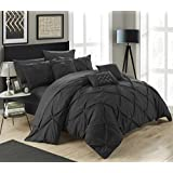 Chic Home 10 Piece Hannah Pinch Pleated, Ruffled and Pleated Complete Queen Bed in a Bag Comforter with Sheet Set, Black