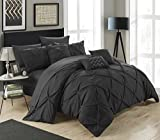 Black and White King Size Comforter Sets Chic Home 10 Piece Hannah Pinch Pleated, ruffled and pleated complete King Bed In a Bag Comforter Set Black With sheet set